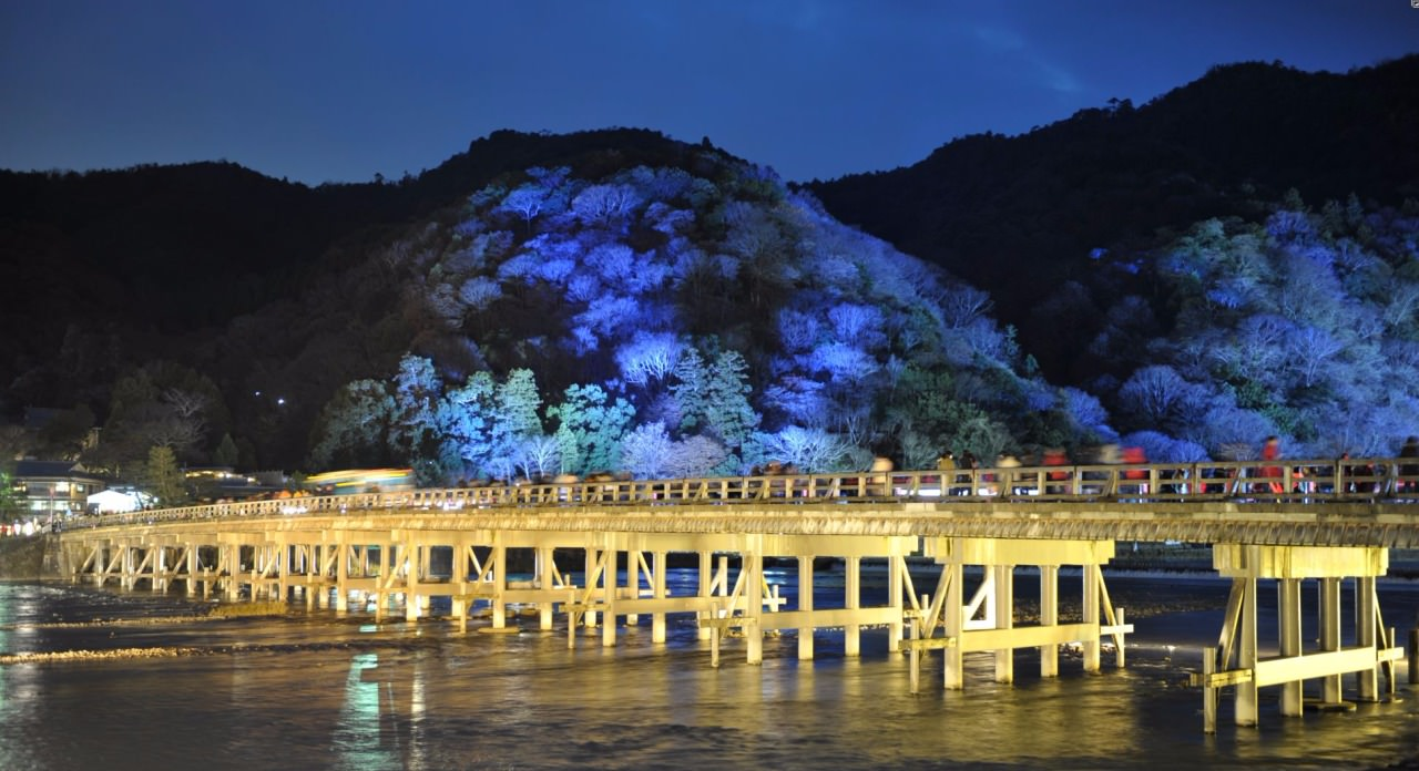 The iconic Togetsukyo Bridge at Arashiyama during the 2015 Hanatoro