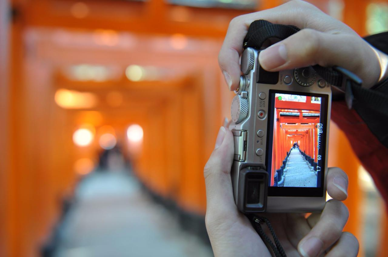 The iconic red torii gates at Fushimi Inari-taisha as seen from the lens of a camera.