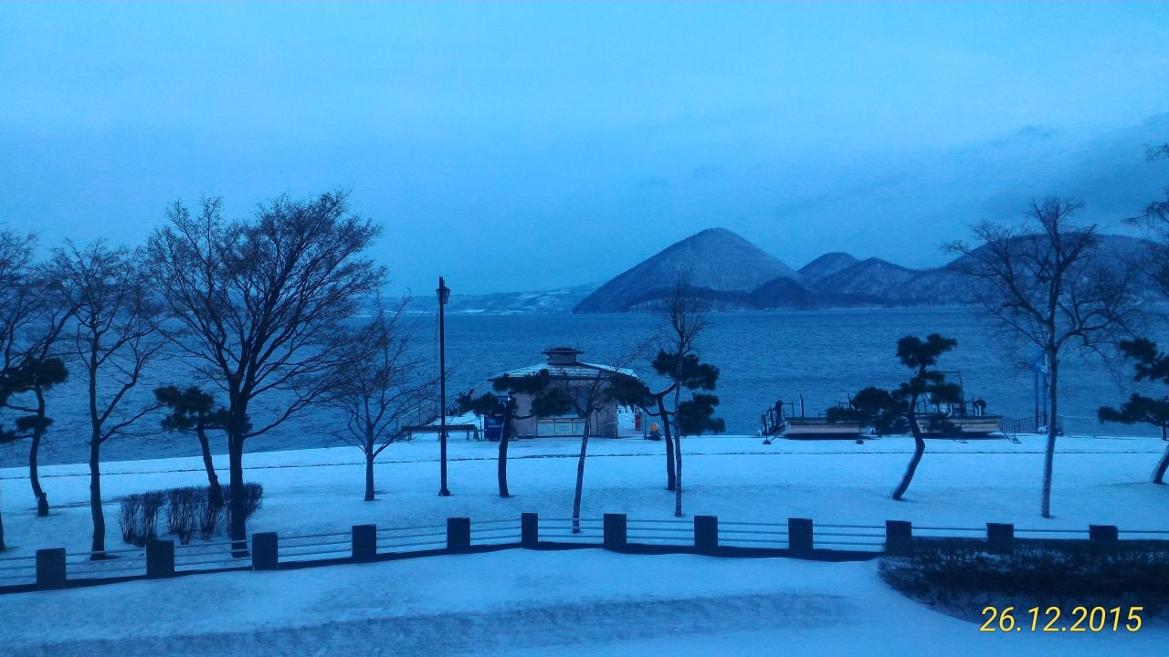 Lake Toya cover with snow