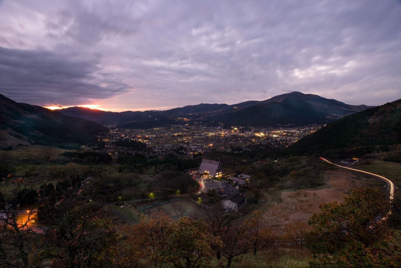 Dusk over Yufuin town.