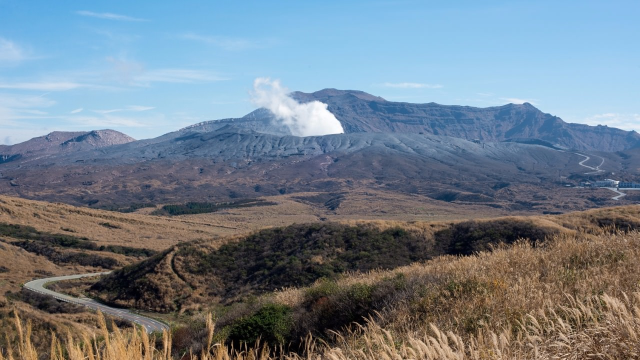 The smoking crater of Mount Aso.