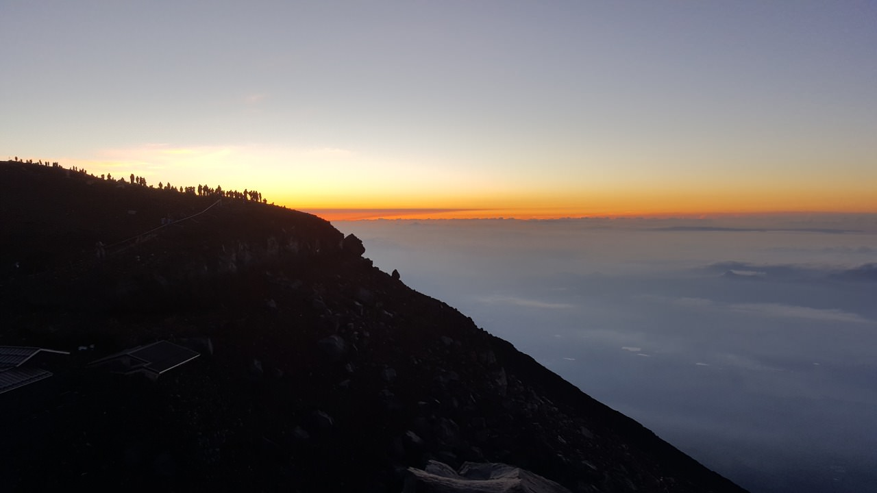 Mount Fuji summit waiting for the sun to rise!