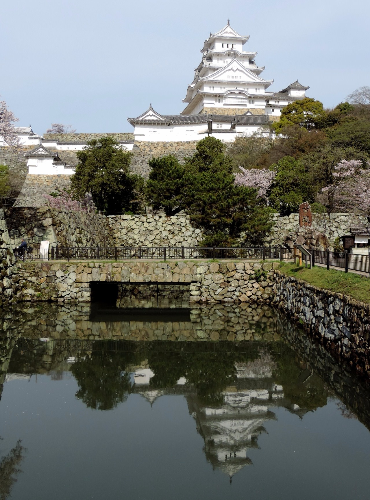 Himeji Castle with reflection in mote