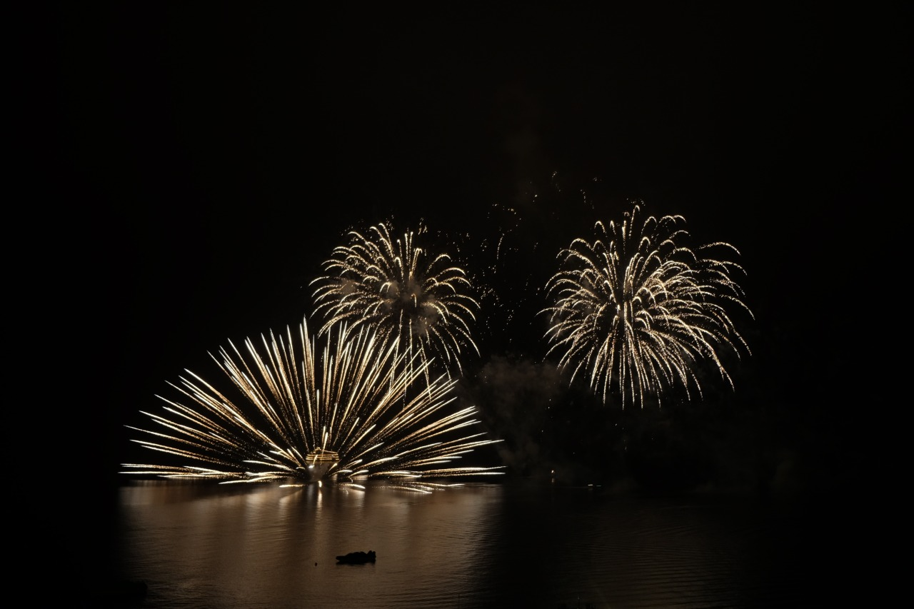 Lake Toya firework in summer