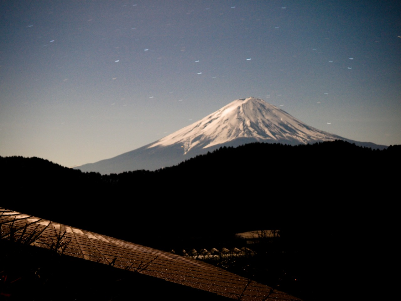Good night Mt. Fuji, from the window of Guesthouse Sakuya!