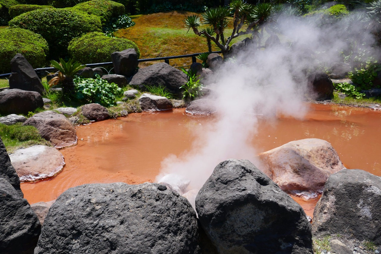 Natural onsen with different colors