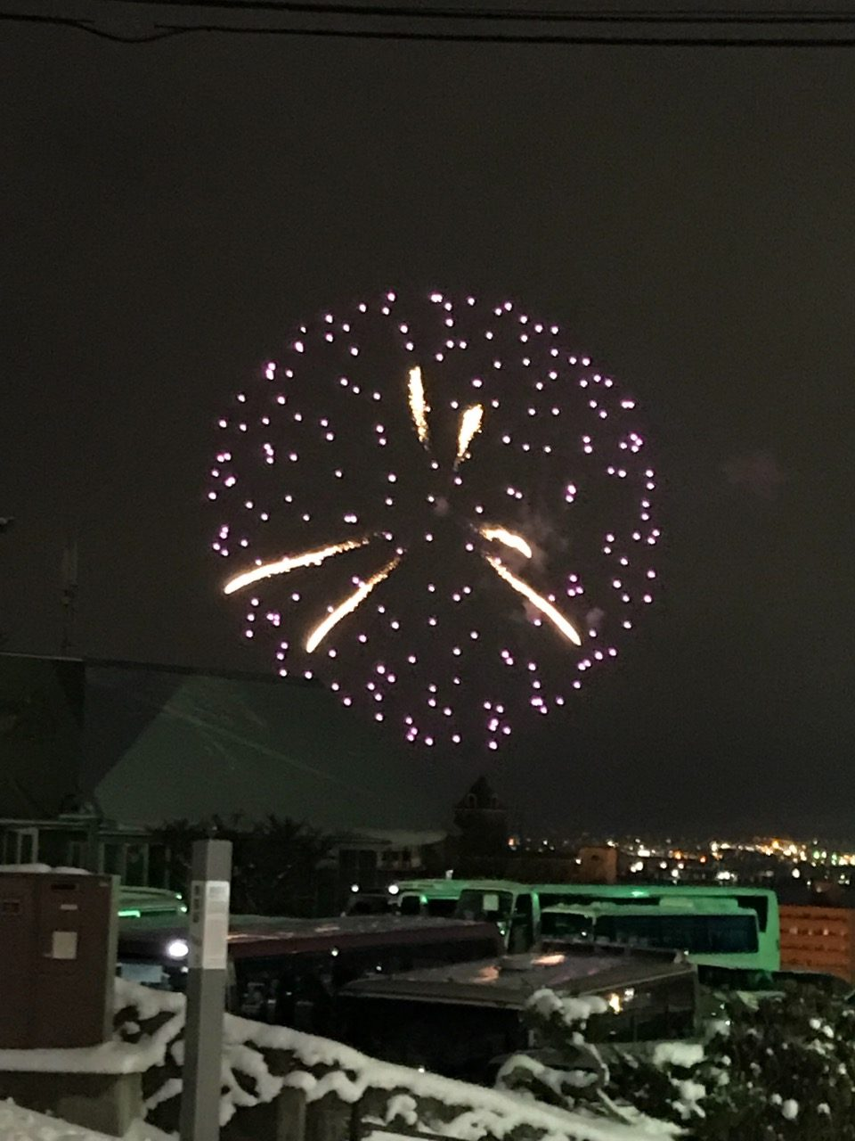 Beautiful Firework near ropeway